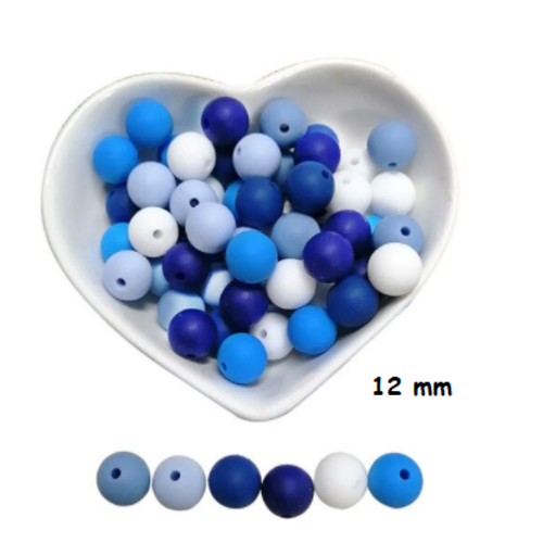Lot de 10 perles en silicones - 12 mm - tons bleu - blanc - bleu roi