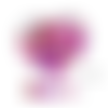 Lot de 10 perles en silicones - 15 mm - tons fuchsia - rouge - rose - violet - blanc - rose pâle