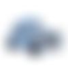 1 perle en silicone - voiture - bleu ciel