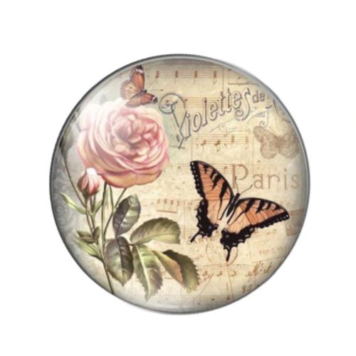 1 cabochon en verre - 25 mm - papillon - rose