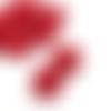 1 pendentif - breloque pompon fleurs - rouge