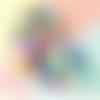 Lot de 20 perles lentilles en silicones - 12 mm - multicolore