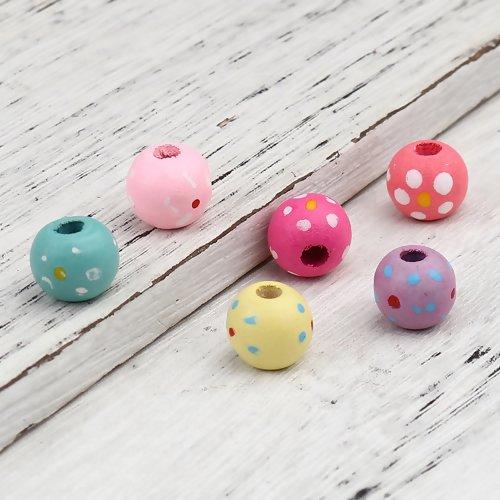Lot de 20 perles rondes en bois - multicolore  - ref - p-1167