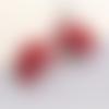 1 pendentif - breloque pompon fleurs - vieux rose r504