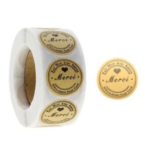 """Lot de 30 étiquettes autocollantes """" merci """" fait main avec amour spécialement pour vous - papier kraft"""