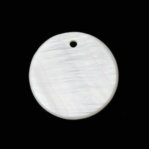5 pendentifs en nacre - rond - 20 mm