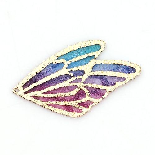 1 pendentif aile de papillon - bleu - fuchsia - r254