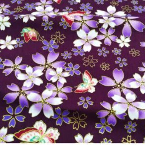 Coupon de tissu fantaisie - japonais fleuri fond violet