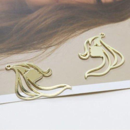 1 breloque - pendentif - visage - métal doré