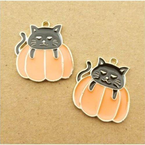 1 breloque - pendentif - halloween chat noir citrouille - emaillé métal doré