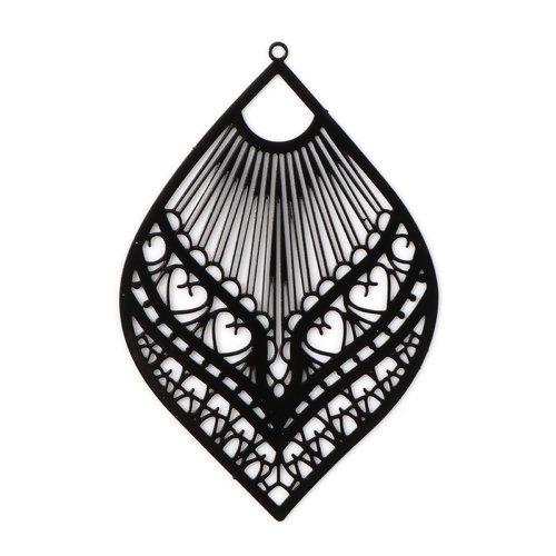 1 pendentif breloque - estampe - feuille - noir - filigrane - laser cut