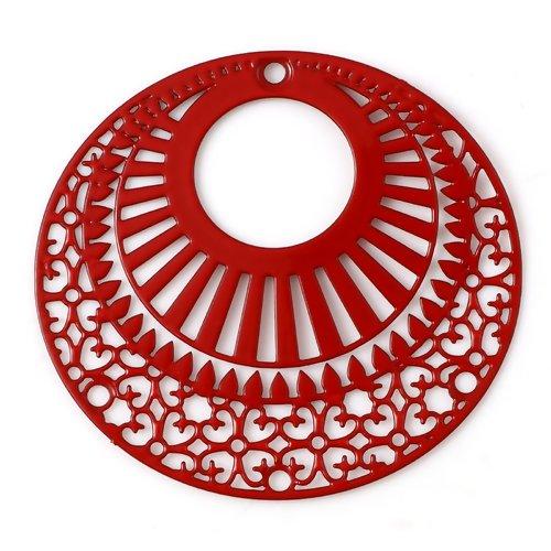 1 pendentif breloque - estampe ronde - rouge - filigrane - laser cut