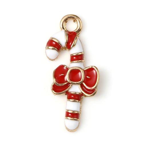 1 breloque pendentif canne de noel -  couleurs métal doré