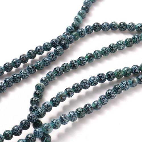 Lot de 10 perles agates en pierre naturelles - tons vert - p1133
