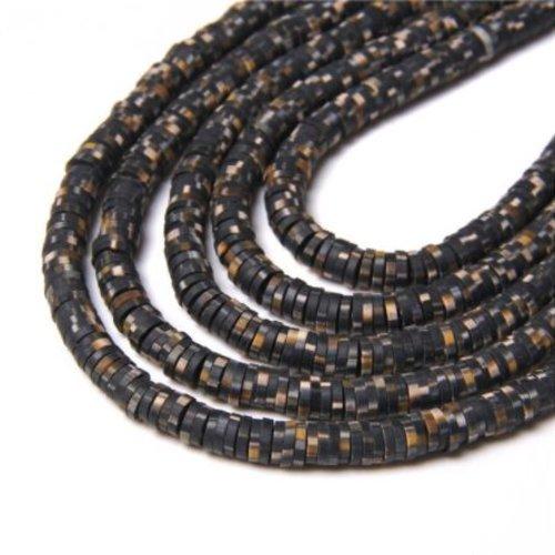 1 chapelet perles heishi - rondelles en pâte polymère - 6 mm - noir marbré