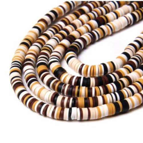 1 chapelet perles heishi - rondelles en pâte polymère - 6 mm - tons marron, ecru, ocre