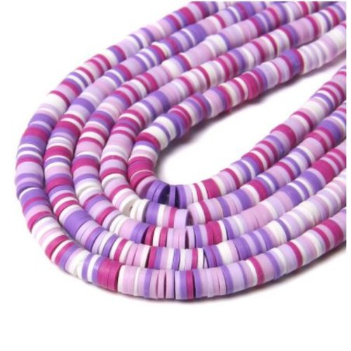 1 chapelet perles heishi - rondelles en pâte polymère - 6 mm - tons fuchsia parme blanc prune
