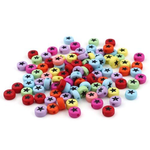 1 lot de 500 perles etoiles multicolores en acrylique