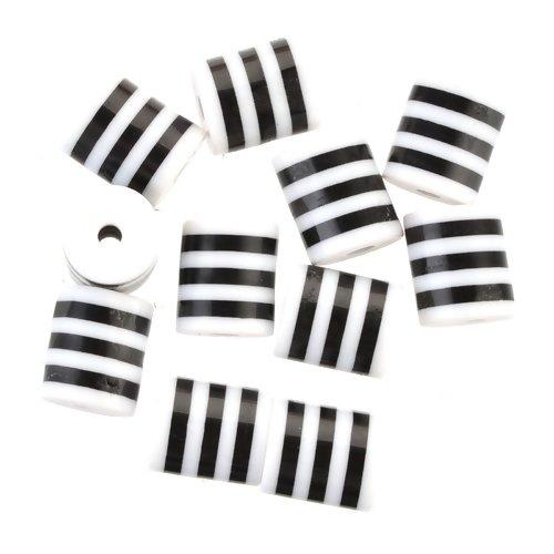 Lot de 10 perles tonneau tube tambour en résine - noir rayé blanc - p402