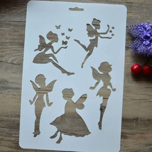 1 pochoir souple fées - elfes - stencil - plastique