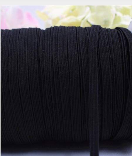 Ruban Elastique Plat - Noir - 5 mm