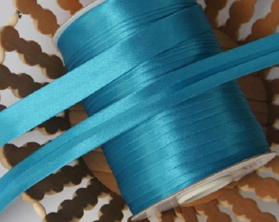 Biais replié - Satin  - Uni - Bleu Turquoise - 20 mm