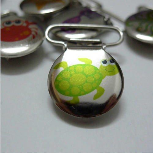 Exclusivité 1 pince bretelle ou clip pour attache tétine ou doudou tortue