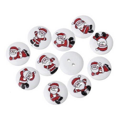 LOT de 5 BOUTONS BOIS DÉCORATIF Père Noël Ange Renne ** 22 x 40 mm ** BBF29