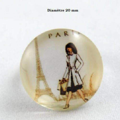 1 cabochon en verre - 20 mm - la parisienne - tour eiffel