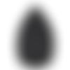 1 pendentif forme feuille - simili cuir - noir