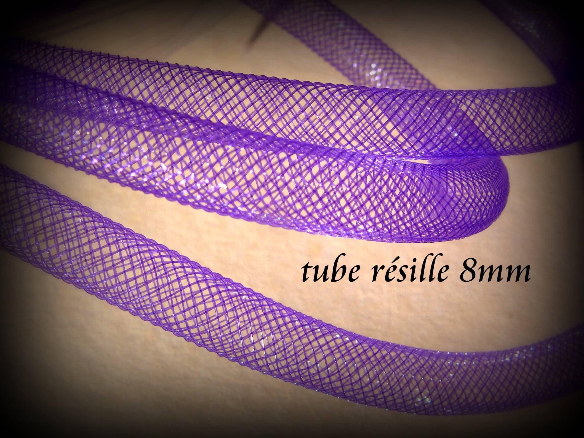 Résille tubulaire violet pour la création de bijoux fantaisie, 1 mètre de tube résille en plastique violet de 8mm
