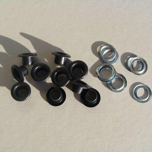 10  œillets en fer bronze foncé avec leur rondelles en zinc argenté