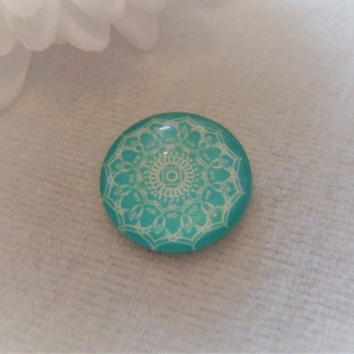 Cabochon en verre rond de 20 mm / 2 cm mandala, graphisme bleu pastel, bleu turquoise