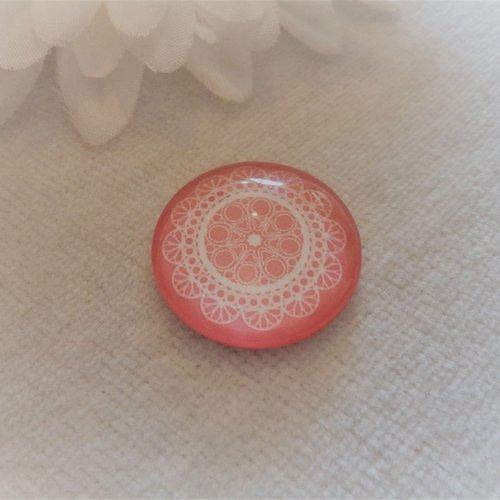 Cabochon en verre rond de 20 mm / 2 cm mandala, graphisme rose bonbon, rose pastel