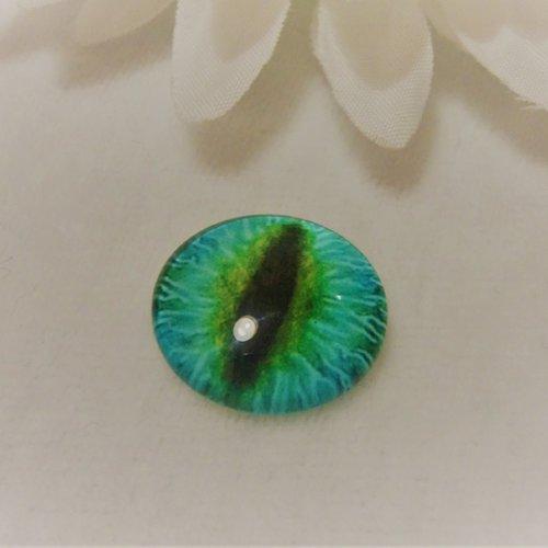 Cabochon en verre rond de 18 mm / 1.8 cm thème fantastique: oeil de chat / tigre, pupille moderne5