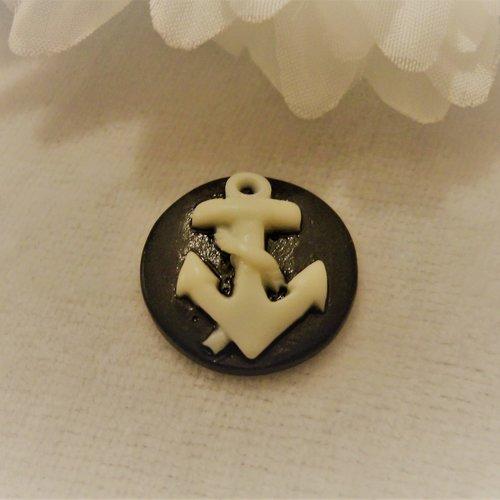Cabochon en résine, camé rond de 20 mm / 2 cm thème maritime: ancre marine, noir et blanc