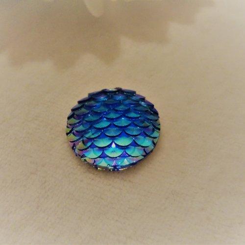 Cabochon en acrylique synthétique rond de 20 mm / 2 cm brillant et moderne, écaille de sirène, de dragon bleu reflets vert violet