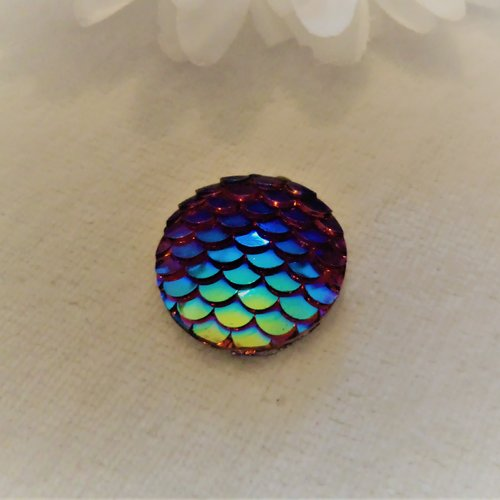 Cabochon en acrylique synthétique rond de 20 mm / 2 cm brillant et moderne, écaille de sirène, de dragon bleu reflets rouge orange