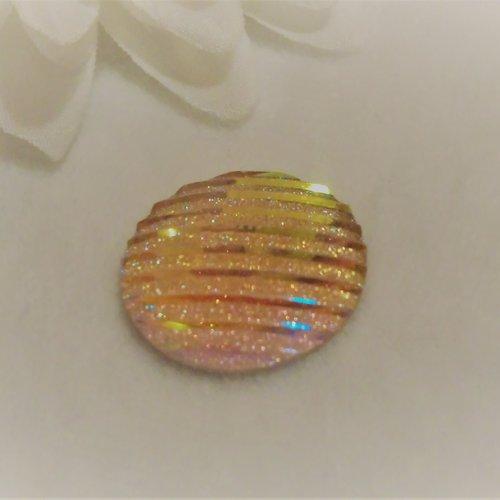 Cabochon en acrylique synthétique rond de 20 mm / 2 cm brillant et moderne à stries rayures orange rose paillettes aux 1000 reflets