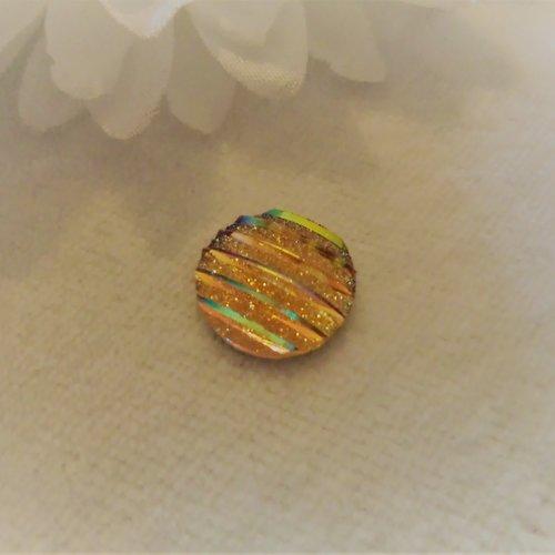 Cabochon en acrylique synthétique rond de 12 mm / 1.2 cm brillant et moderne à stries rayures orange paillettes aux 1000 reflets
