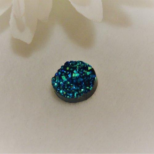 Cabochon druzy en acrylique rond de 12 mm / 1.2 cm moderne et brillant à paillettes, pépites d'or bleu vert