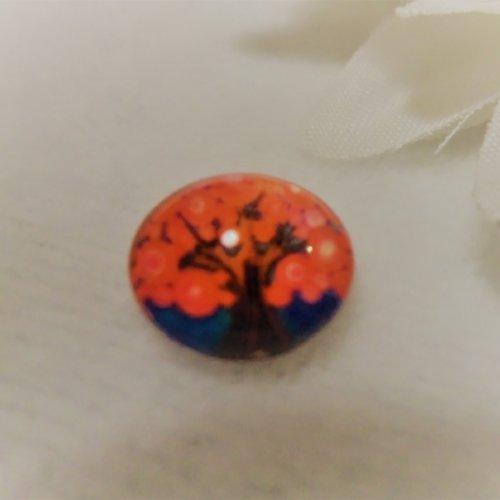 Cabochon en verre rond de 10 mm / 1 cm thème nature: arbre de vie au printemps