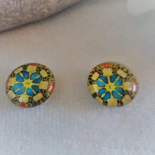 Lot de 2 cabochons en verre de 12 mm / 1.2 cm thème: mosaïque, mandala, holographique 4