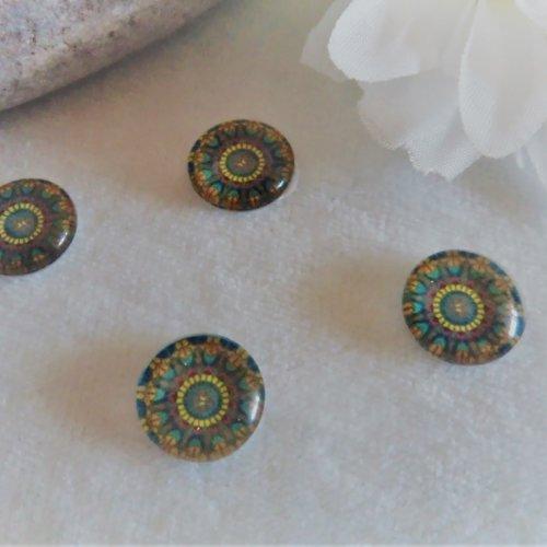 Lot de 2 cabochons en verre de 12 mm / 1.2 cm thème: mosaïque, mandala, holographique 9