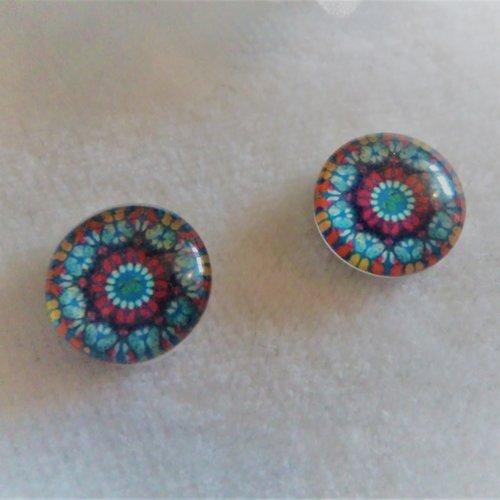 Lot de 2 cabochons en verre de 12 mm / 1.2 cm thème: mosaïque, mandala, holographique 13