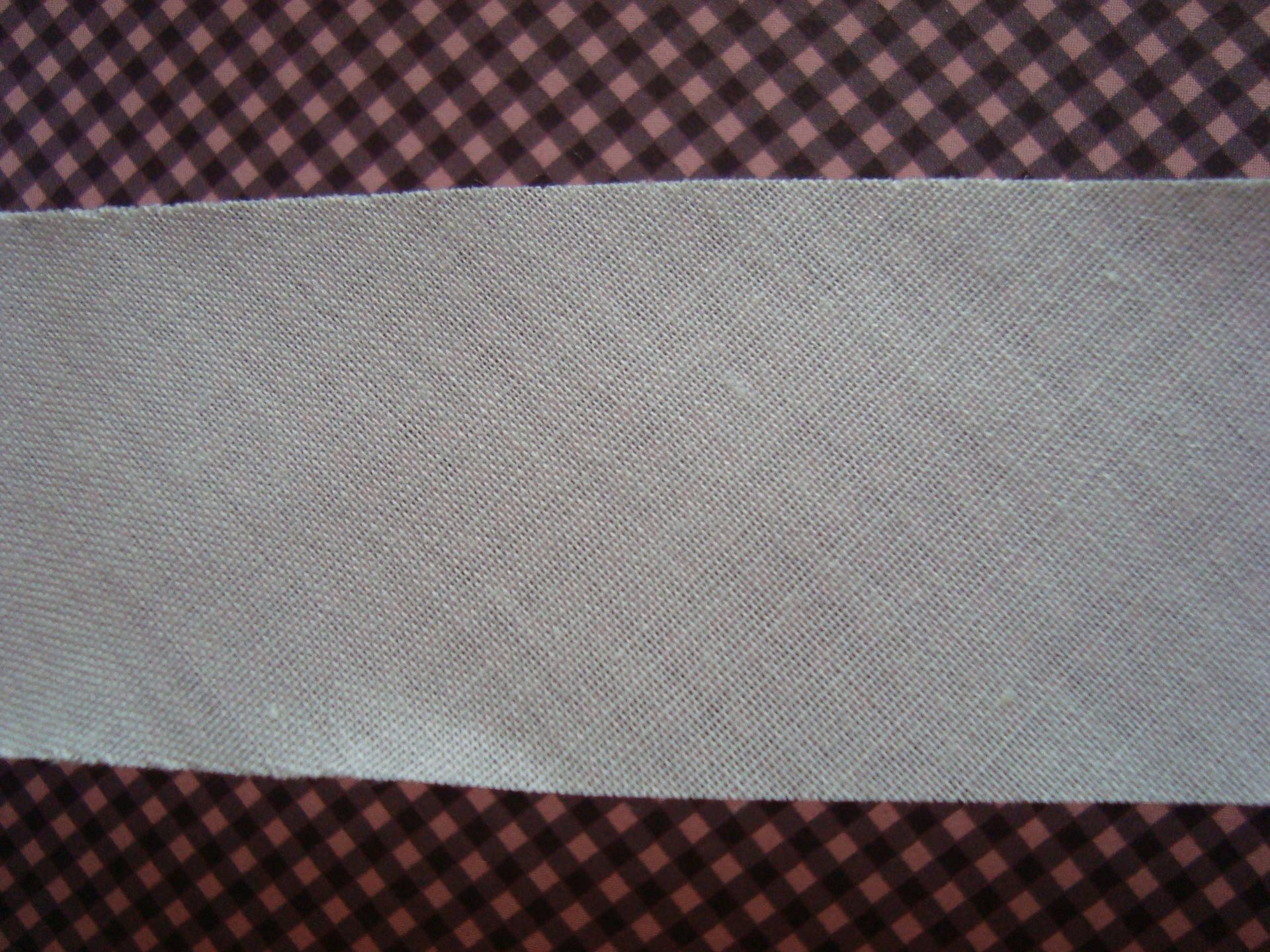 Biais plat 3 cm large non plié en coton blanc