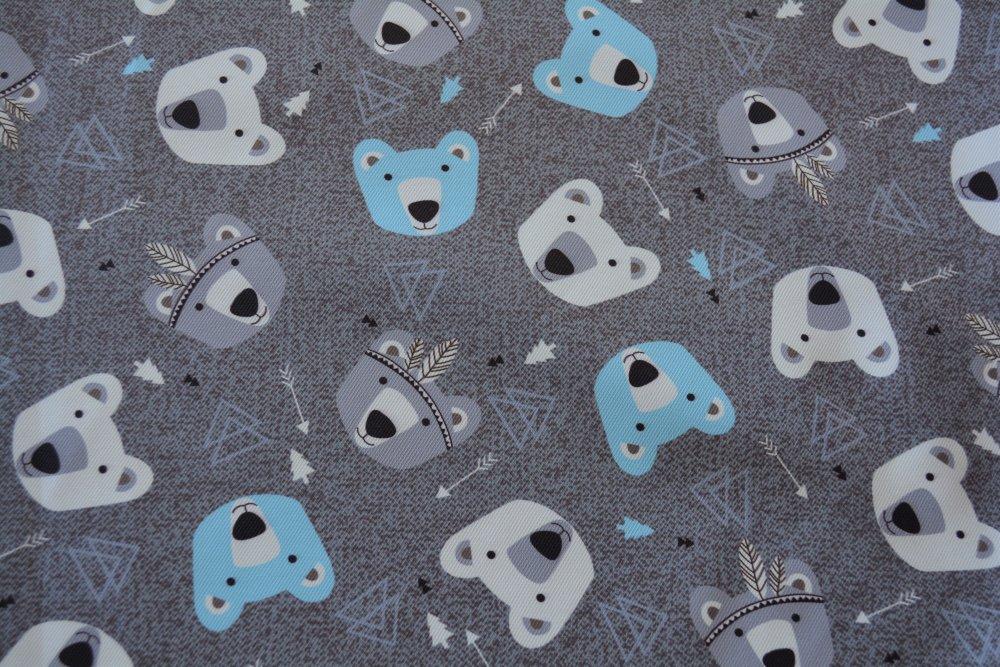 Coupon XXL en Tissu déperlant motif nounours sur fond gris