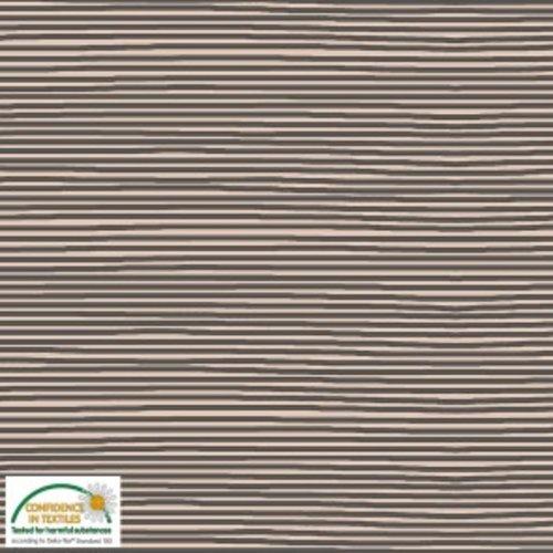 Tissu jersey oeko tex motif rayure marron