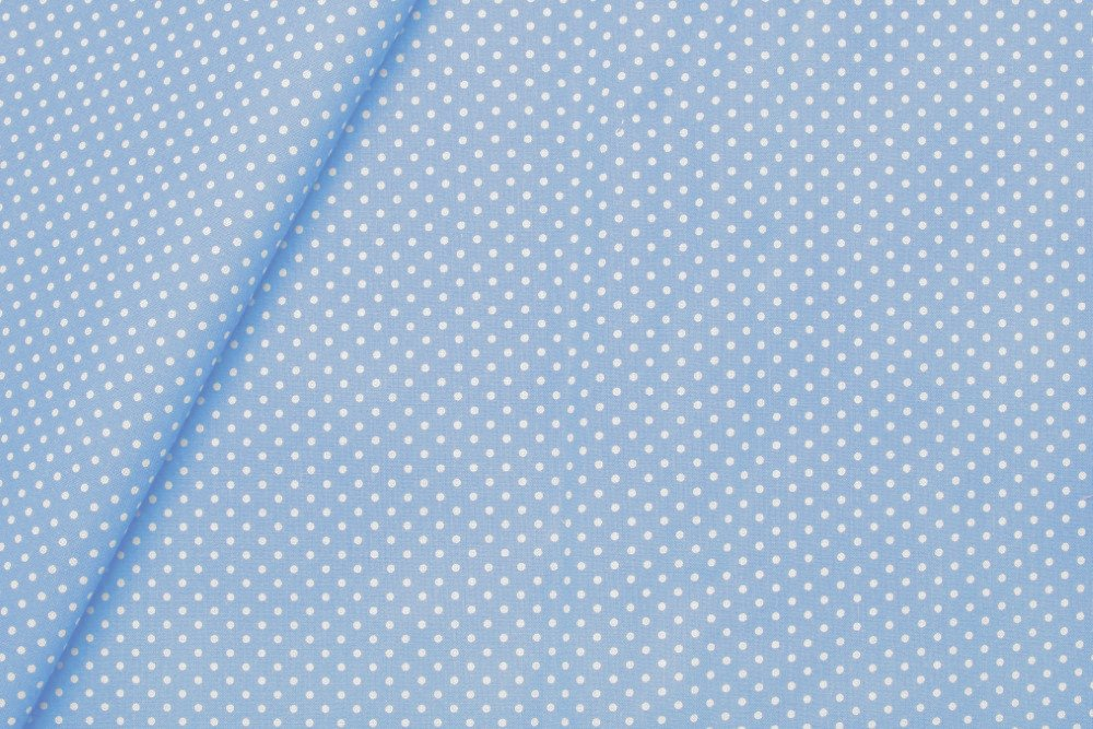 Tissu coton à pois bleu ciel