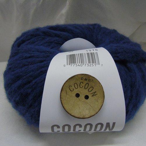 2 pelotes laine bleu dmc cocoon + boutons coco
